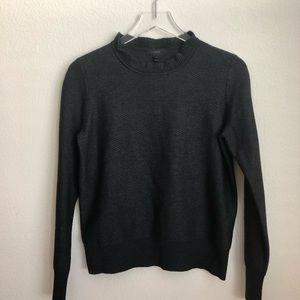 J. Crew Heather Gray Ruffle Neck Sweater, Medium
